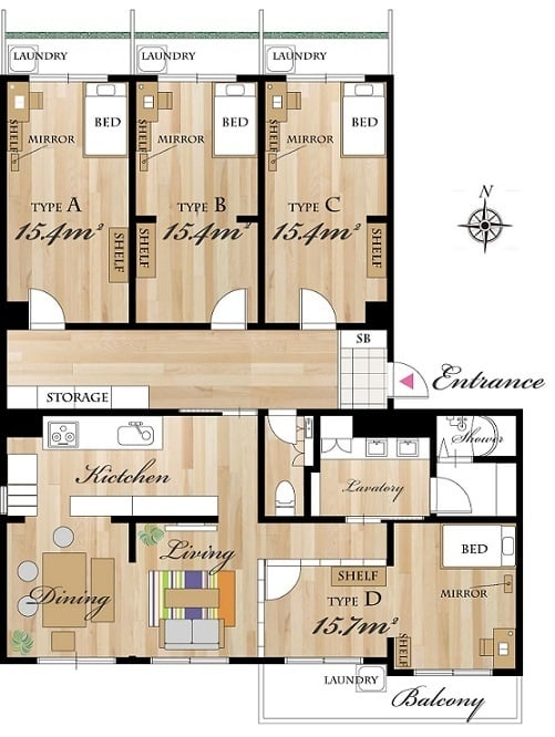 Accommodations - Share House Layout 1